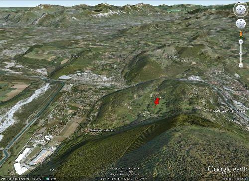 Localisation sur vue Google Earth de l'affleurement à ammonite