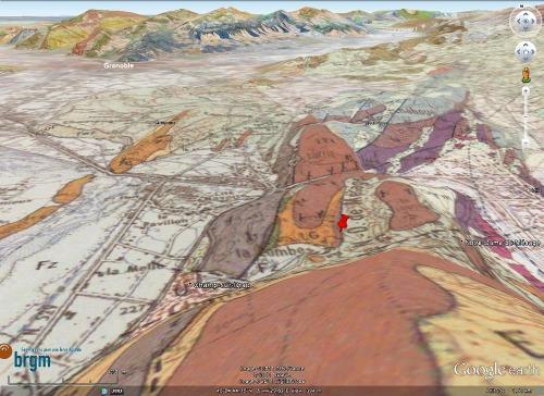 Localisation sur carte géologique de l'affleurement à ammonite