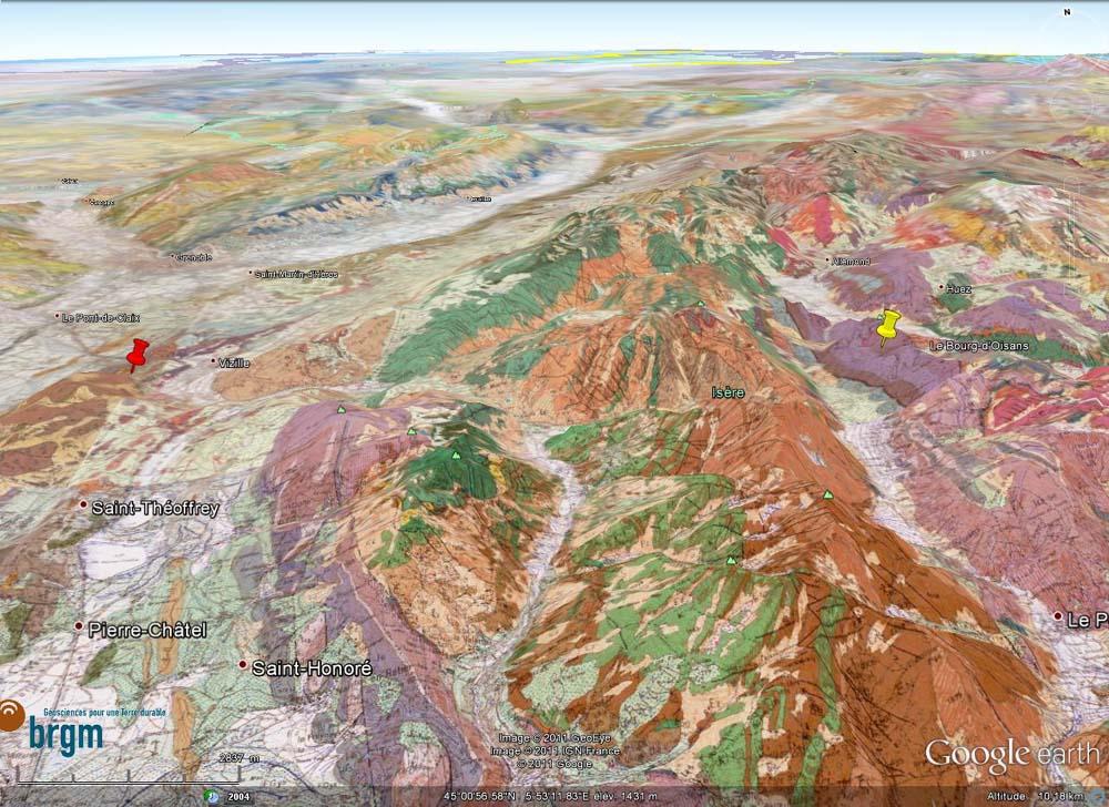 Localisation sur carte géologique de l'affleurement à ammonite (punaise rouge) et de celui à belémnites (punaise juane) dans les marnes liasiques