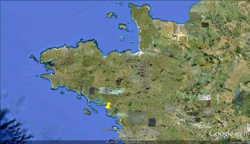 Localisation Google Earth (punaise jaune) de la presqu'île de Piriac-sur-Mer, au Sud de la Bretagne