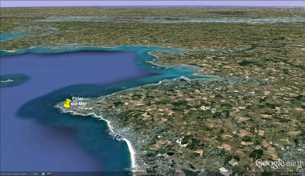 Vue Google Earth de la presqu'île de Piriac-sur-Mer