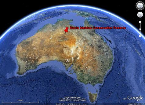 """Localisation de la """"Devils Marbles Conservation Reserve"""", Australie"""