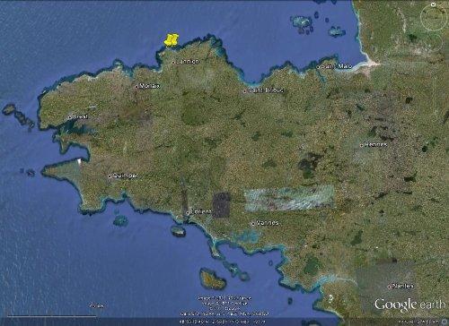 Localisation de la partie orientale de la «côte de granite rose», entre Trégastel et Ploumanac'h