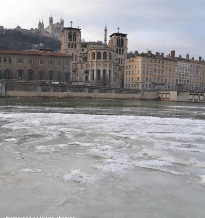 La Saône gelée à Lyon le 13 février 2012