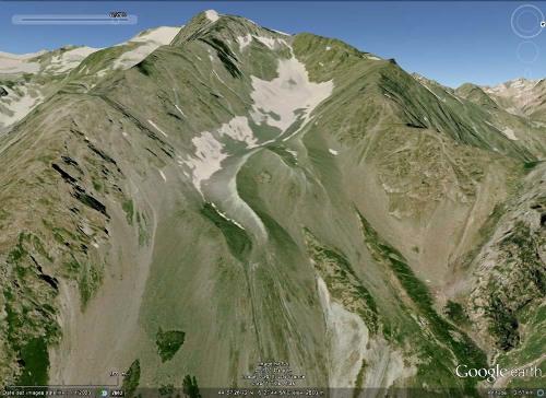 Été 2002 : Pic de Prés les Fonts (3358 m) et anciennes moraines situées sur son versant Est, au pied Nord de la crête du Lauzas