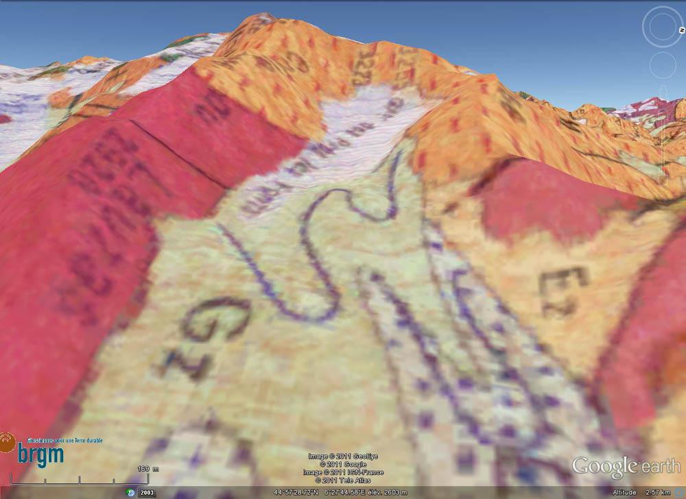 Carte géologique du BRGM : Pic de Prés les Fonts (3358 m) et crête du Lauzas