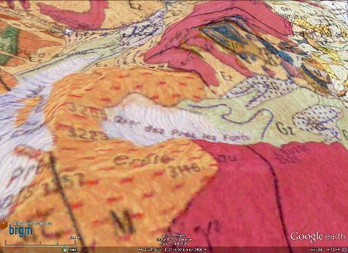 Carte géologique BRGM de la crête du Lauzas vue vers le Nord, 1967