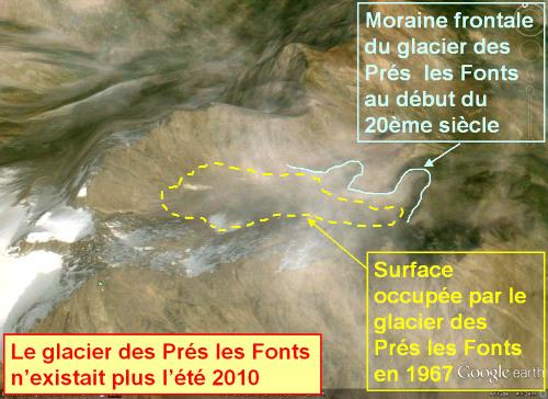 La crête du Lauzas vue vers le Nord pendant l'été 2010 : report des tracés du glacier (1967) et des moraines