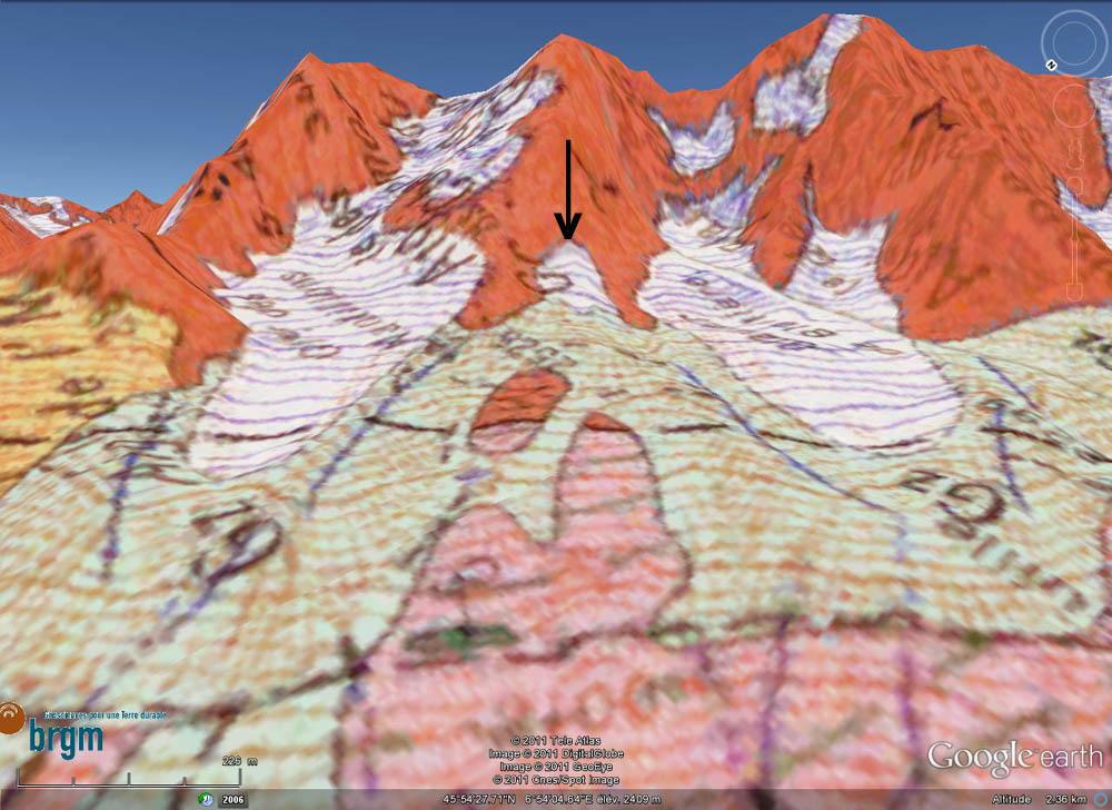 Carte géologique, 1975 : glacier des Nantillons (à gauche) et glacier de Blaitière (à droite) au pied des Aiguilles de Chamonix (Haute Savoie)