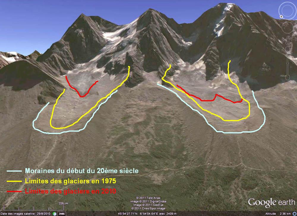 Comparaison 1975 - 2010 : glacier des Nantillons (à gauche) et glacier de Blaitière (à droite) au pied des Aiguilles de Chamonix (Haute Savoie)