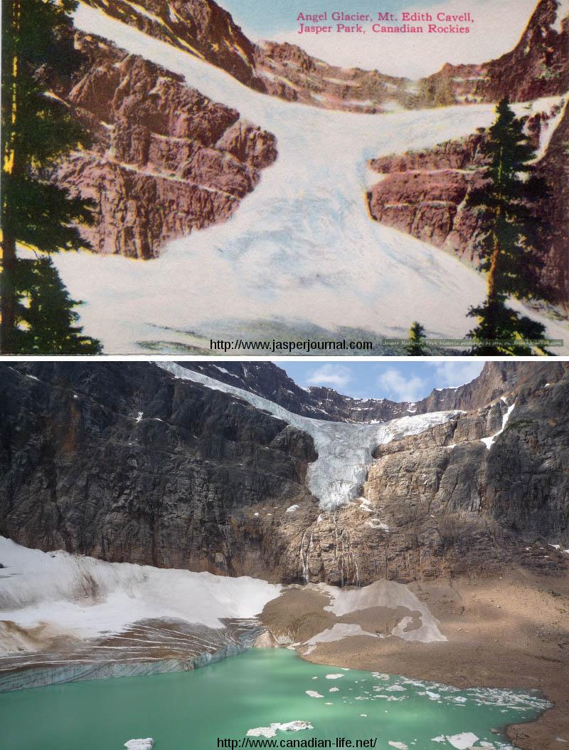 Le glacier Edith Cavell et le glacier de l'Ange, Parc National de Jasper, Canada