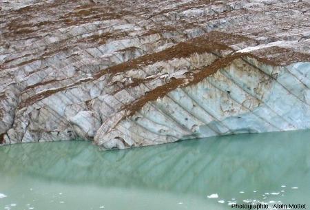 Détail de la partie Est du front du glacier Edith Cavell, Parc National de Jasper, Canada