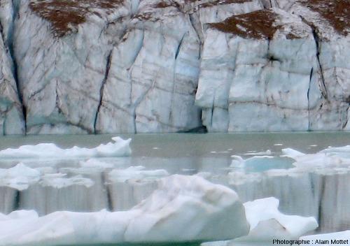Détail de la partie Ouest du front du glacier Edith Cavell, Parc National de Jasper, Canada