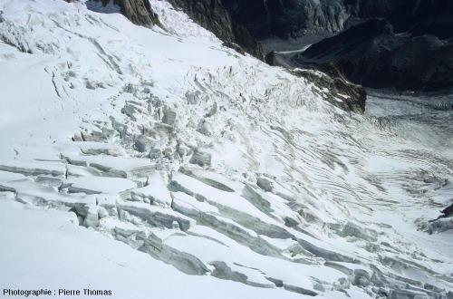 Quelques crevasses dans la partie amont du glacier du Géant, Chamonix, Haute Savoie