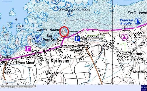 Localisation des rochers de Kerfissien (cercle rouge), près de Plouescat (Finistère)