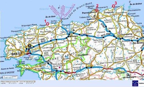 Localisation des sites de Kerfissien (1), de Porz Rolland (2) et de la Pointe du Château (3) sur la côte Nord de la Bretagne