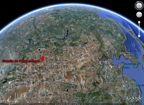 Localisation (approximative) des photographies de paysages granitiques de l'Altaï mongol