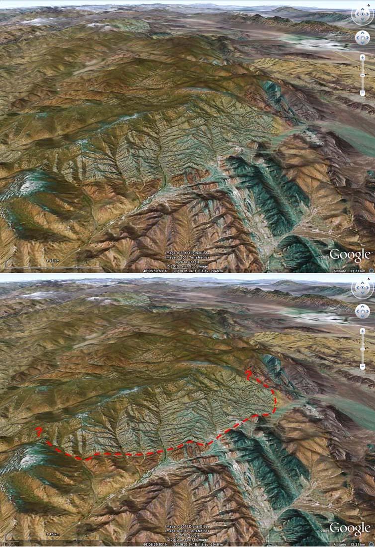 Image brute et interprétée de l'intrusion granitique observée dans l'Altaï mongol