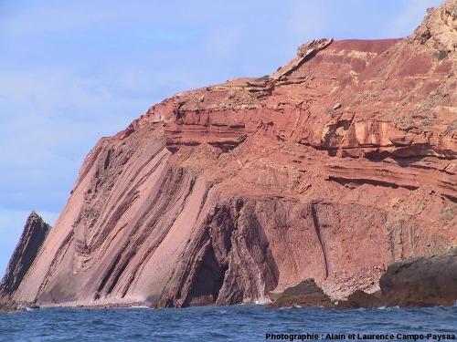 La discordance hercynienne (Trias sub-horizontal sur Carbonifère plissé) au Nord du Cap Saint Vincent, Sagres, Portugal
