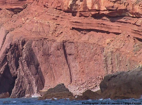 Zoom sur la discordance hercynienne du Cap Saint Vincent, Sagres, Portugal