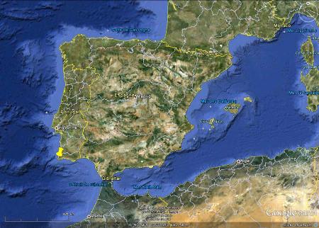 Localisation du Cap Saint Vincent, Sagres, Portugal