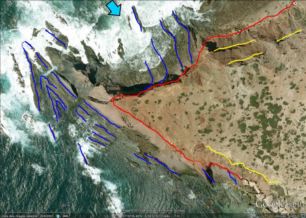 Interprétation rapide de la vue verticale de la discordance hercynienne, Cap Saint Vincent, Sagres, Portugal