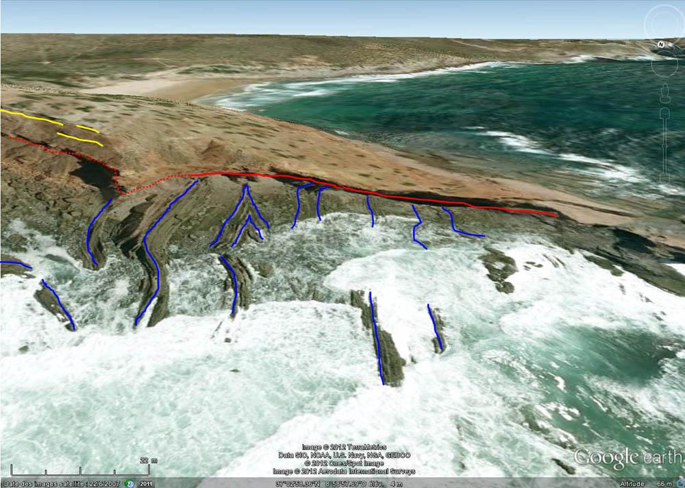 Interprétation rapide de la vue oblique, prise en direction du SSE, sur la pointe où affleure la discordance hercynienne, Cap Saint Vincent, Sagres, Portugal