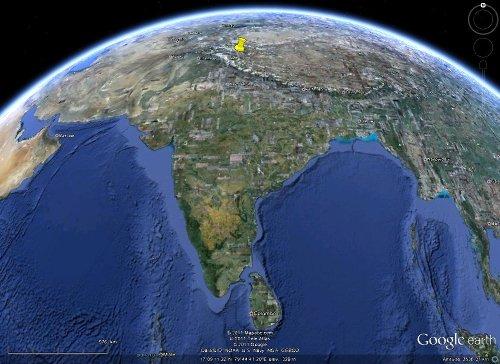 Localisation du secteur du haut Indus dans l'Himalaya