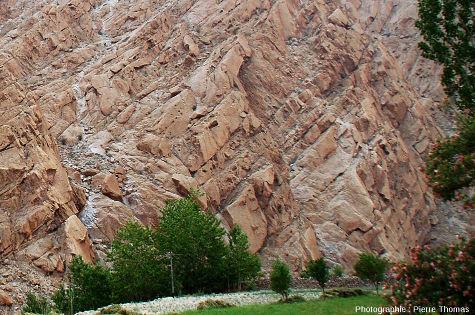 Réseau de diaclases inclinées et parallèles donnant une allure stratifiée à un granite de la haute vallée de l'Indus (Ladakh, Himalaya indien)