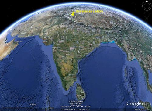 Localisation du Ladakh, Himalaya indien