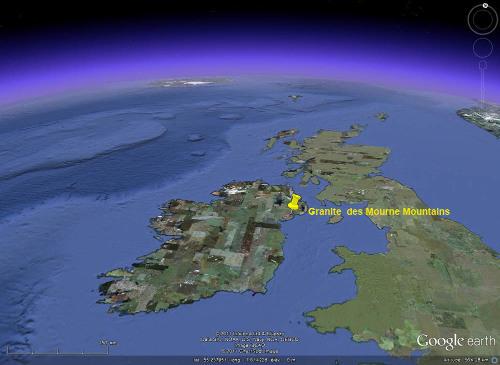 Localisation du granite des Mourne Mountains (Irlande du Nord)
