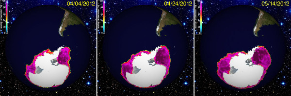 Évolution de la taille de la banquise antarctique entre début avril et début mai 2012