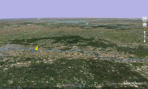 Localisation des communes de Mardié et de Bou (punaise jaune), 12km en amont d'Orléans (Loiret)