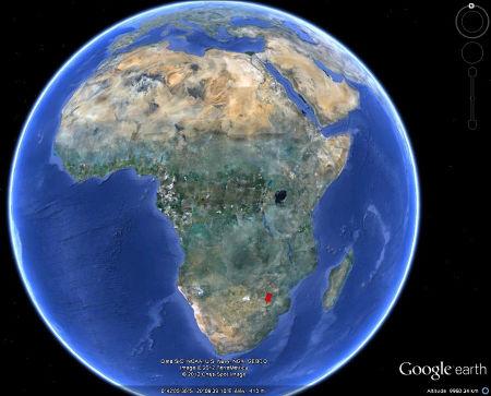 Localisation de de l'inselberg granitique des Three Sisters, Afrique du Sud, sur une image globale du continent africain