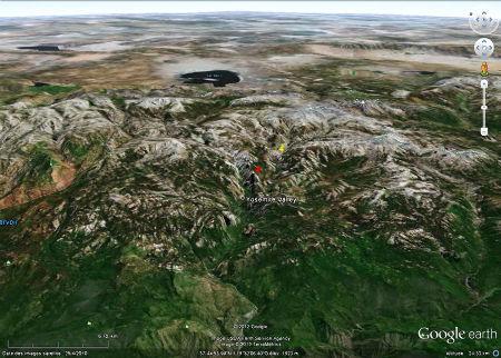 Localisation des secteurs du parc de Yosemite montrés ici