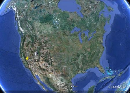 Localisation des secteurs du parc de Yosemite en Amérique du Nord