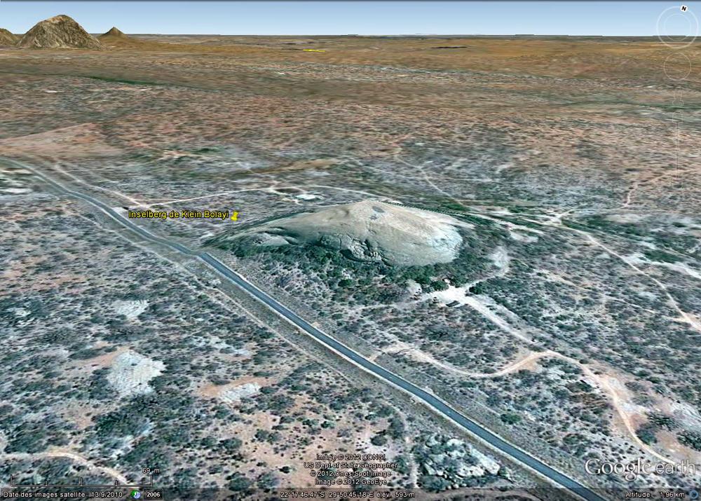 Vue de l'inselberg granitique de Klein Bolayi, Afrique du Sud