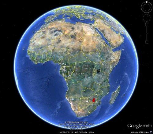 Localisation de la région des inselbergs de Klein Bolayi et des Three Sisters, Afrique du Sud