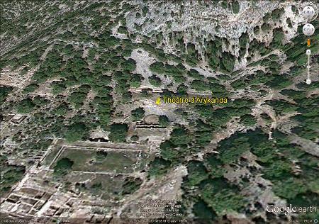 Vue aérienne du théâtre antique d'Arycanda (Turquie)