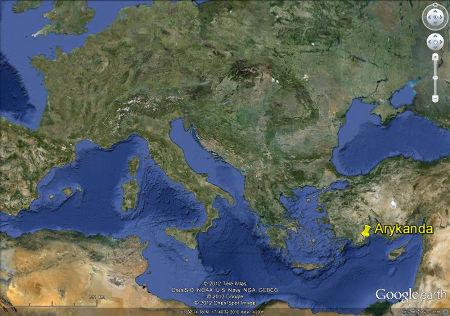 Localisation de la cité antique d'Arycanda (Turquie)