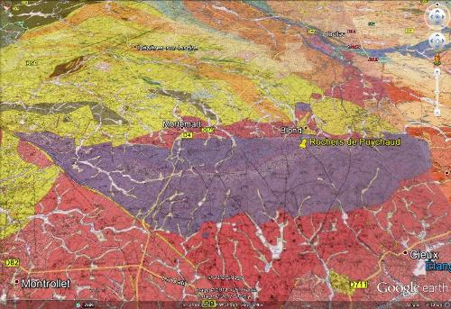Cadre géologique des rochers de Puychaud, Blond, Haute Vienne