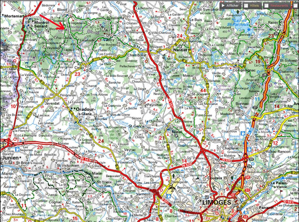Localisation des rochers de Puychaud sur carte Michelin, à 30km au NO de Limoges (Haute Vienne)