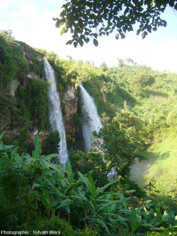 Vue de la coulée pyroclastique (derrière les cascades) contenant les troncs silicifiés, SIpi Falls, Ouganda
