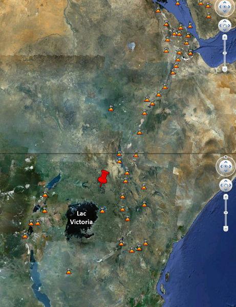 Mosaïque de deux images Google earth montrant les volcans actifs du Grand Rift Africain