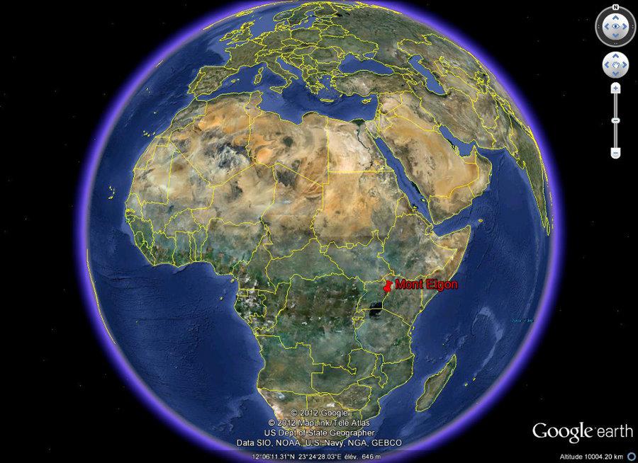 Localisation du Mont Elgon en Afrique