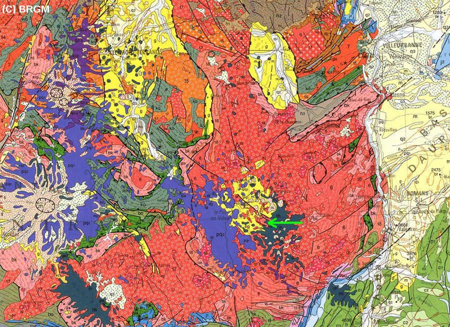 Extrait de la carte géologique de la France au 1/1.000.000 (BRGM) localisant la carrière de Bournac (Haute Loire)
