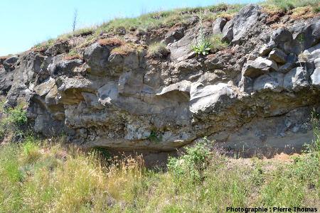 Base de la coulée basaltique de Marjallat, commune de Mazeyrat d'Allier (Haute Loire), située à une centaine de mètres à l'Est des précédents affleurements