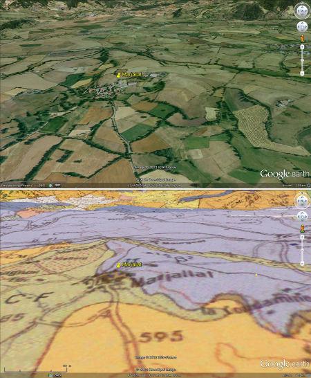 Vue et carte géologique du secteur de Marjallat, commune de Mazeyrat d'Allier (Haute Loire)