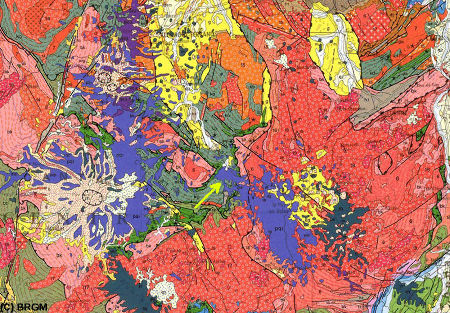 Contexte géologique de la coulée de Marjallat, sur la carte géologique de France au 1/1.000.000