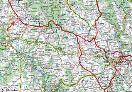 Localisation du site de Marjallat (flèche rouge, commune de Mazeyrat d'Allier, Haute Loire) sur carte routière Michelin